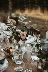 Table with flowers on a wedding