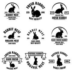 Set of rabbit meat emblems. Design element for logo, label, sign, banner, poster.
