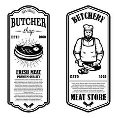 Set of meat store flyers. Design element for banner, logo, sign, poster, flyer.