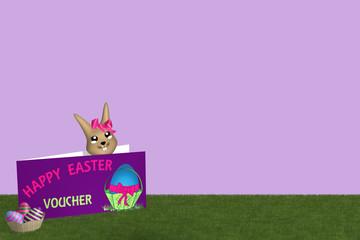 Geschenkkarte mit Osterhasen und Osterkorb auf grüner Wiese mit lila Hintergrund.