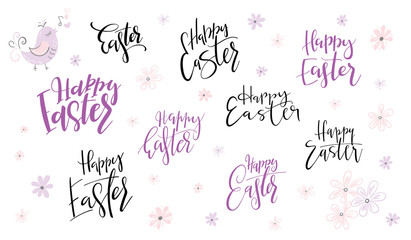 vector hand lettering happy easter day phrases set with doodle flowers
