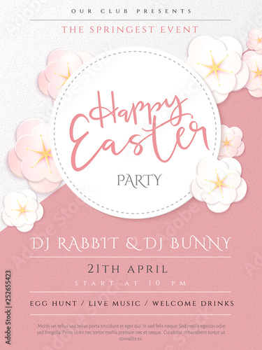 Vector illustration of easter day invitation party poster template
