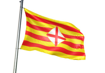 Barcelona province of Spain flag waving isolated 3D illustration