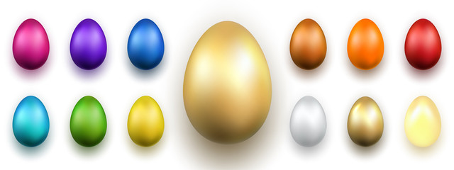 Easter egg 3D icons. Gold, color eggs set isolated white background. Golden design, decoration Happy Easter celebration. Holiday elements collection. Shiny pattern. Spring symbol. Vector illustration