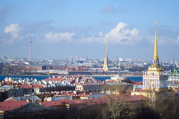 View of buildings, streets, bridges, rivers and canals of St. Petersburg, Russia.
