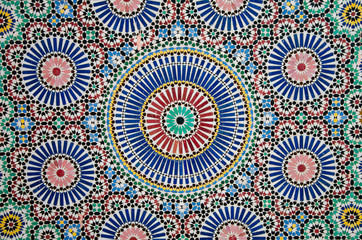 Colorful blue mosaics in Morocco