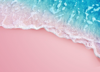 Wall Mural - Soft blue ocean wave on pink background