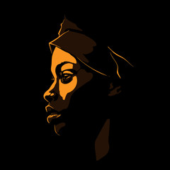 Black African woman portrait silhouette in backlight. Vector. Illustration.