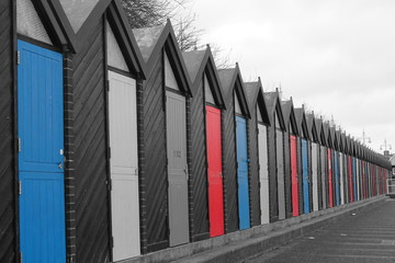 Colourful beach huts at Lowestoft Beach, Suffolk