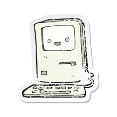 retro distressed sticker of a cartoon old computer