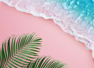 tropical palm leaf and soft blue wave on pink background