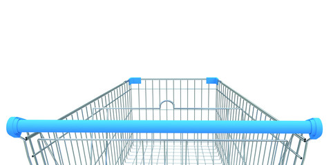 shopping trolley isolated 3D illustration