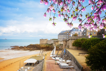 Saint-Malo old city over atlantic coast ,  France
