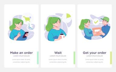 Presentation slide template. Shopping concept illustration. Vector