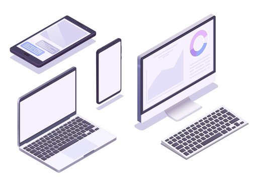 Isometric device set. Monitor, laptop, tablet, smartphone