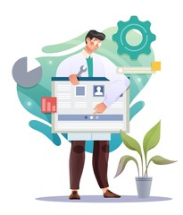 Doctor or scientist doing research and analysis. Vector illustration
