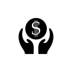Business incubator, care, icon. Coin with dollar sign simple icon on white background. Vector illustration. - Vector
