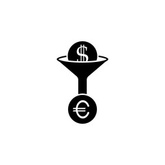 Currency conversion, dollar, icon. Coin with dollar sign simple icon on white background. Vector illustration. - Vector