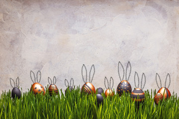 Easter eggs with cute bunny's ears