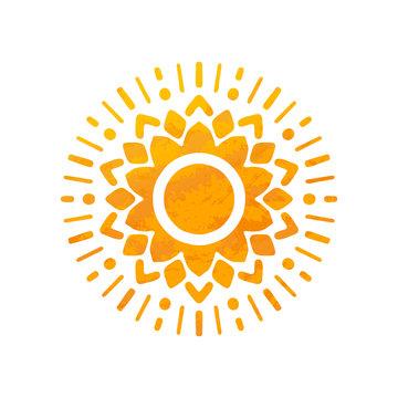 Beautiful Sun. Hand Drawn With Structure. Ornamental Mandala.