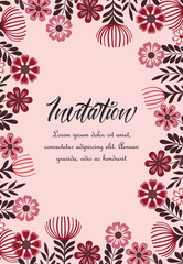 Vector illustration of a flowers with leaves. Floral background. Greeting cards