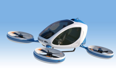 Electric Passenger Drone flying in the sky. Wall mural