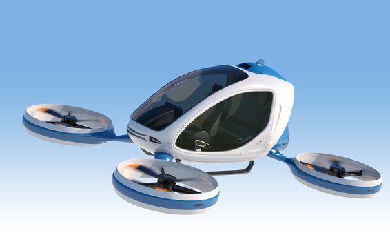Electric Passenger Drone flying in the sky.