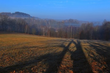 spring in the nature. Beautiful spring landscape in the czech. Spring landscape with trees and shadows.