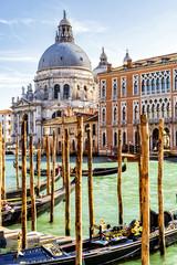 Grand Canal with Basilica di Santa Maria della Salute in Venice, Italy. View of Venice Grand Canal. Architecture and landmarks of Venice.