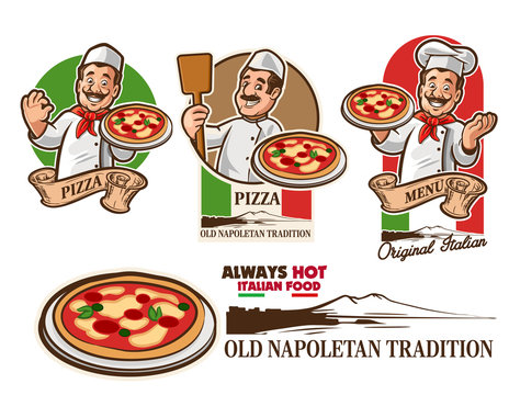 set of funny chef with pizza