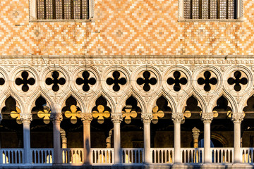 Detail view of the Doge's Palace and St. Mark's Basilica in Venice, Italy. Palace build in Venetian Gothic style.