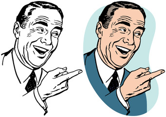 A laughing businessman pointing to the right.