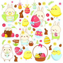 Easter stickers, icons. Cute bunny rabbit, lamb, chicken and other holiday symbols in kawaii style. Big collection of cartoon vector elements for Easter design