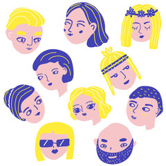 Doodle people faces. Man and woman avatars. Funny male and female heads in quirky style. Lifestyle stickers, icons
