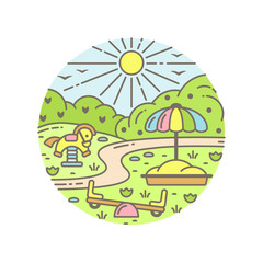 Round concept with playground and nature elements. Cartoon style vector illustration