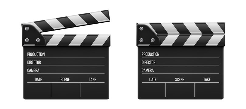 Creative vector illustration of 3d realistic movie clapperboard, film clapper isolated on transparent background. Art design cinema slate board template. Abstract concept graphic filmmaking element
