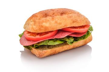 Belegtes Brötchen Ciabatta Sandwich mit Salami und Tomaten