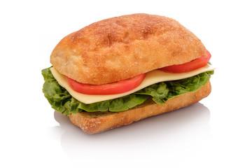 Belegtes Brötchen Sandwich mit Käse und Tomate