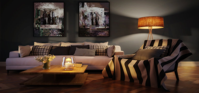 Cute living room interior with paintings by evening (panoramic) - 3d visualization