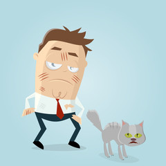 annoyed cartoon man scratched by furious cat