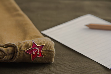 Part of the uniform of the Soviet soldier: forage-cap with a star