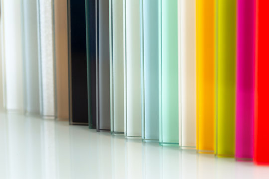 Colored glass material for interior finishing