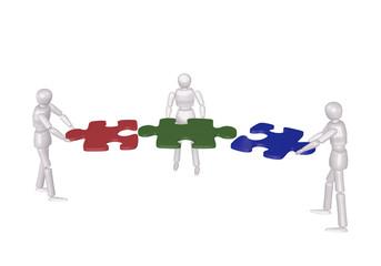 Konzept: Teambildung. 3d Charakter fügen Puzzleteile zusammen.