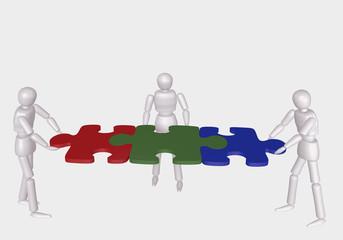 Konzept: Teambildung. 3d Charakter halten gemeinsam Puzzleteile. Auf weiß isoliert.