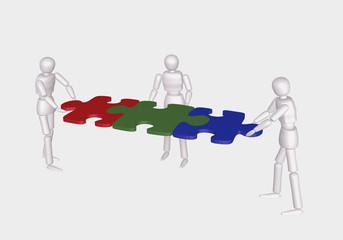 Konzept: Teambildung. 3d Charakter fügen Puzzleteile zusammen. Auf weiß isoliert.