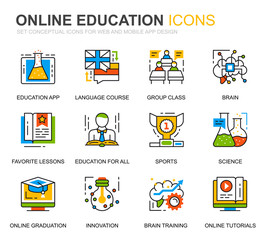 Simple Set Education and Knowledge Line Icons for Website and Mobile Apps. Contains such Icons as Studying, School, Graduation, E-Book. Conceptual color line icon. Vector pictogram pack.