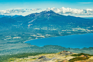 Landscape with Llanquihue Lake from Osorno Volcano. Chile.