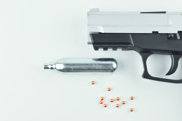 Air Gun, Co2 Cartridge and Pellets.