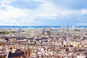 Paris and suburbs cityscape from above, France