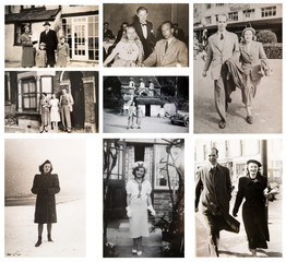 1940-1950s. English people travelling and enjoying the life. 1950s Fashion. London.  Set of vintage photos.